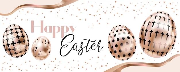 Banner de feliz páscoa com ovos de ouro rosa