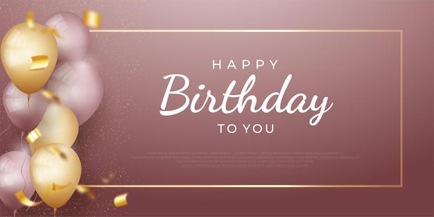 Banner de feriado de feliz aniversário com moldura dourada brilhante e balões realistas