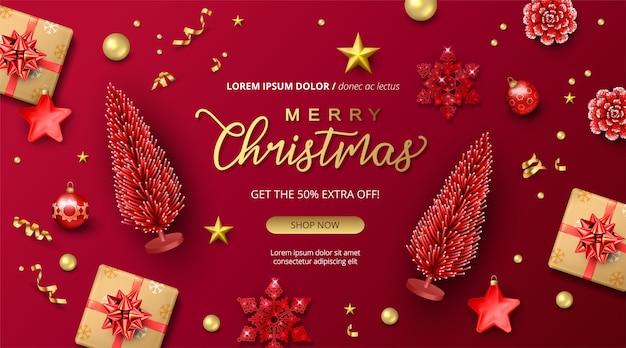 Banner de feriado de feliz natal e feliz ano novo