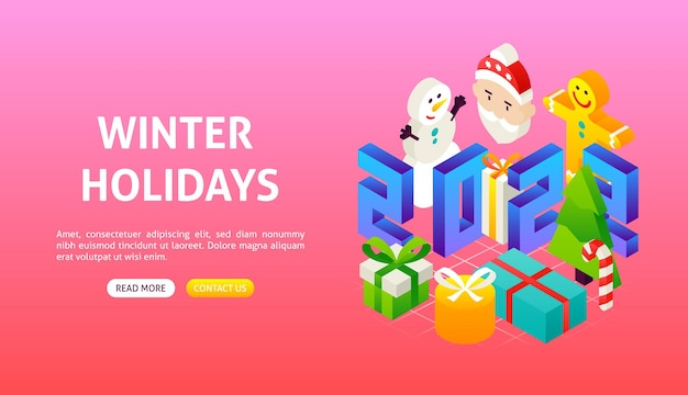 Banner de feriados de inverno 2022. ilustração em vetor de objetos de feliz ano novo.