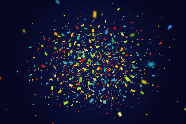 Banner de férias com confetes coloridos sobre fundo azul escuro a voar