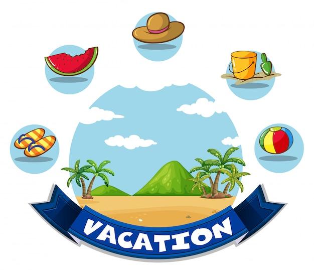 Banner de férias com praia e brinquedos