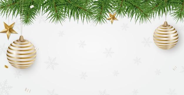 Banner de férias de ano novo 2020 com galhos de árvores de natal