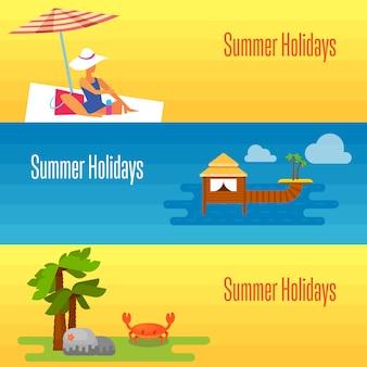 Banner de férias de verão com bungalows de água