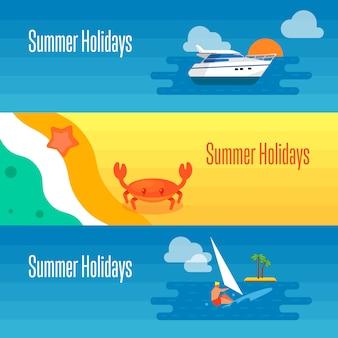 Banner de férias de verão com caranguejo do mar