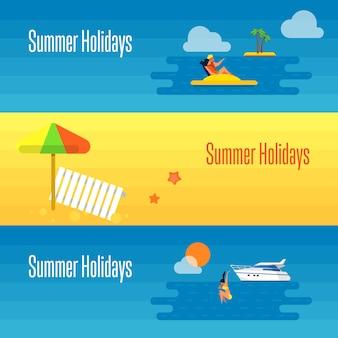 Banner de férias de verão com guarda-chuva de praia