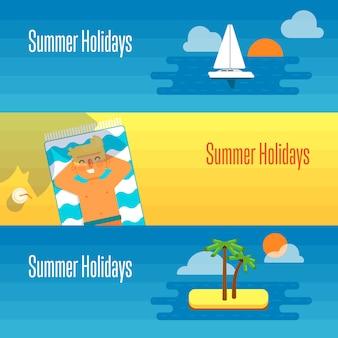 Banner de férias de verão com homem toma sol