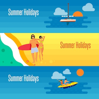 Banner de férias de verão com jovem casal na praia