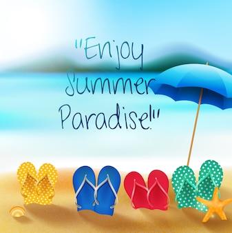 Banner de férias de verão com sandálias coloridas e guarda-chuva