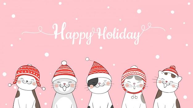Banner de férias feliz com gatos