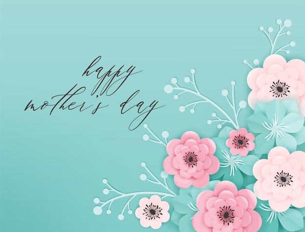 Banner de férias feliz dia das mães. cartão de dia das mães olá primavera papel cortado design com flores e cartaz de tipografia de elementos florais. ilustração vetorial