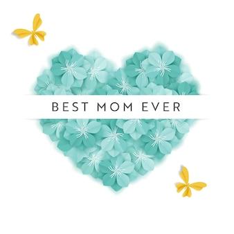 Banner de férias feliz dia das mães. cartão de dia das mães olá primavera papel cut design com flores e cartaz de tipografia de coração. ilustração vetorial