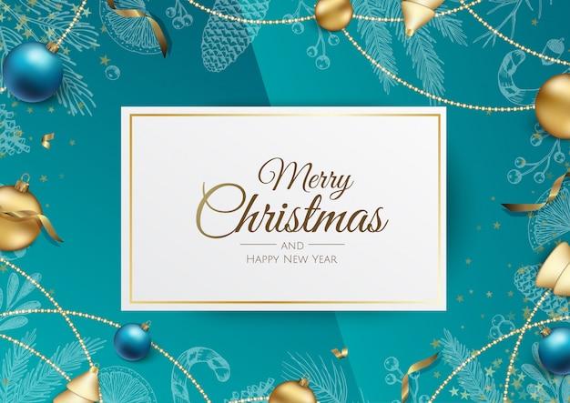 Banner de férias feliz natal e feliz ano novo.
