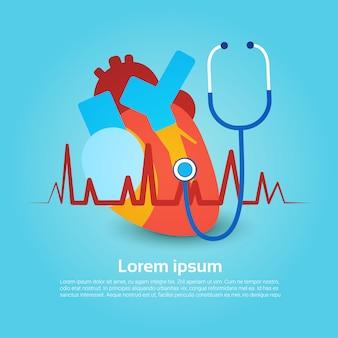 Banner de férias global do dia mundial do saúde estetoscópio coração com cópia espaço
