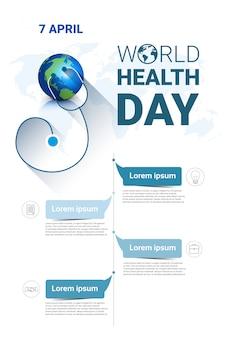 Banner de férias global planeta terra saúde dia mundial com espaço de cópia