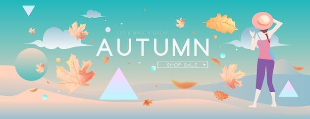 Banner de férias outono venda de moda e viagens