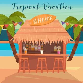 Banner de férias tropicais com bar de praia e palmeiras