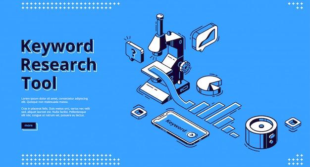 Banner de ferramenta de pesquisa de palavras-chave com microscópio