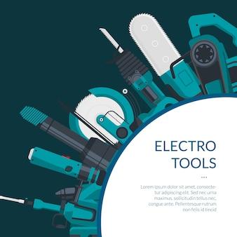 Banner de ferramentas de construção elétrica