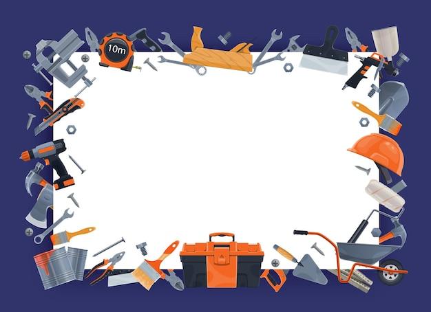 Banner de ferramentas para construção, reparo e reforma de casas