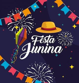 Banner de festa com celebração de chapéu e fogos de artifício