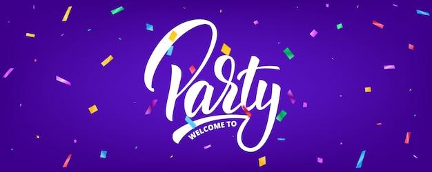 Banner de festa com confetes e letras. modelo de plano de fundo de férias