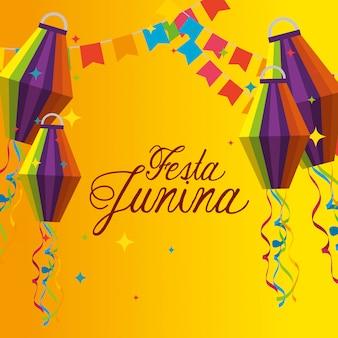 Banner de festa com decoração de lanternas para celebração