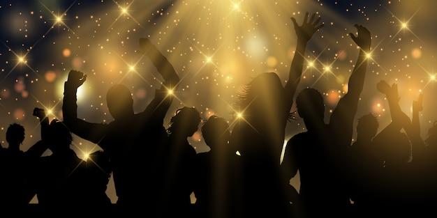 Banner de festa com estrelas e holofotes