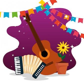Banner de festa com guitarra e acordeão para festa junina