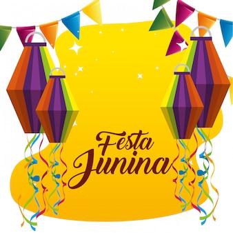 Banner de festa com lanternas para comemorar a festa junina