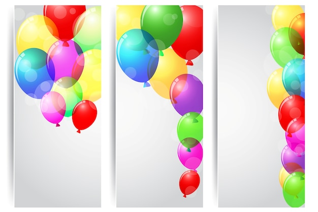 Banner de festa de aniversário com balões coloridos