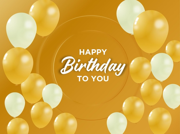 Banner de festa de aniversário e vetor de balão