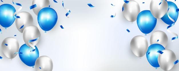 Banner de festa de celebração com fundo de balões de cor azul. grande saudação de luxo do cartão de inauguração rico.