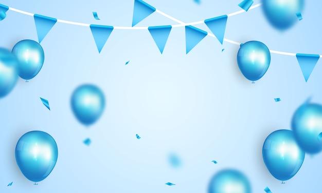 Banner de festa de celebração com fundo de balões de cor azul. ilustração de venda. saudação de luxo de cartão de inauguração rica.