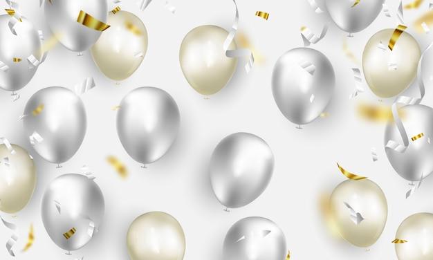 Banner de festa de celebração com fundo de balões de cor branca. ilustração de venda. saudação de luxo de cartão de inauguração rica.