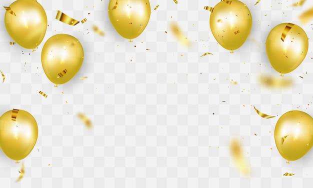 Banner de festa de celebração com fundo de balões de ouro. ilustração de venda. saudação de luxo de cartão de inauguração rica.