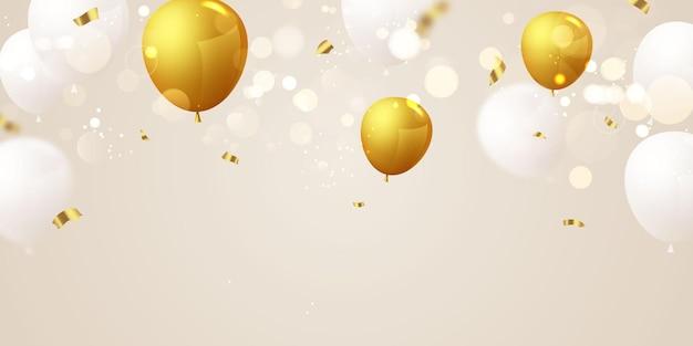 Banner de festa de celebração com fundo de balões dourados