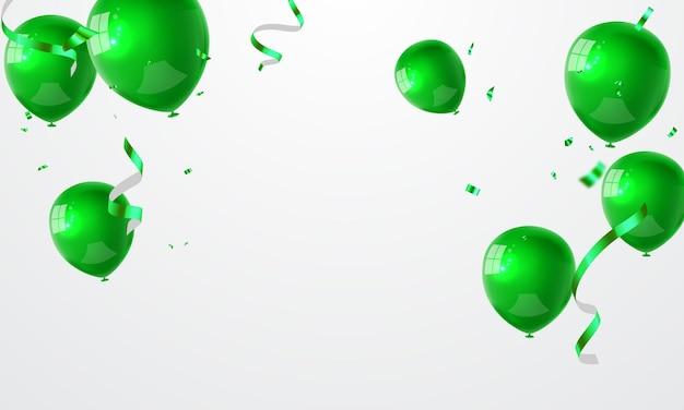 Banner de festa de celebração com fundo de balões verdes