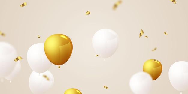 Banner de festa de comemoração com balões dourados