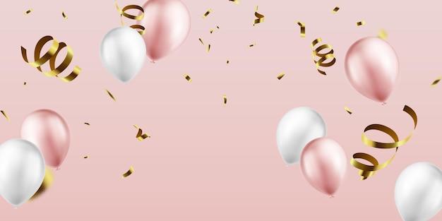 Banner de festa de comemoração com balões rosa