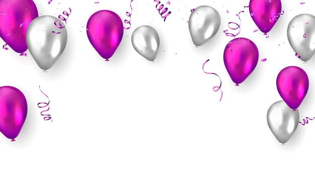 Banner de festa de comemoração com fundo de balões roxos