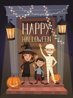 Banner de festa de halloween com crianças em trajes
