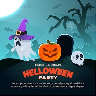 Banner de festa de halloween. com fantasma, lua, caveira e abóbora. fundo assustador