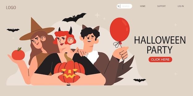 Banner de festa de halloween com personagens.
