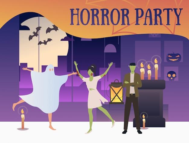 Banner de festa de horror com zumbis e fantasma