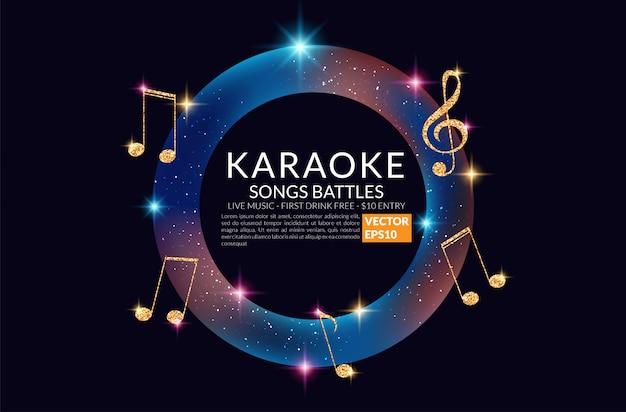 Banner de festa de karaoke com microfone.