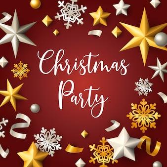 Banner de festa de natal com estrelas e flocos em fundo vermelho