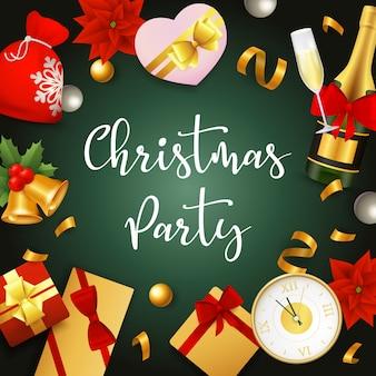 Banner de festa de natal com presentes e fitas no chão verde
