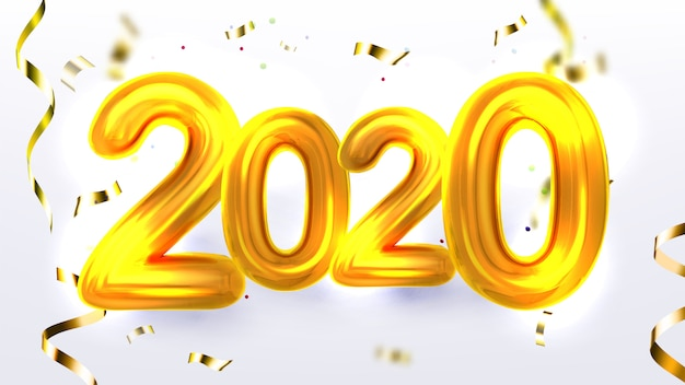 Banner de festa de natal de ouro ano novo de 2020