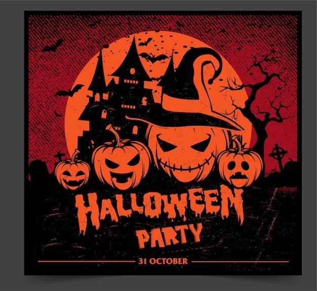 Banner de festa de noite de halloween com abóboras